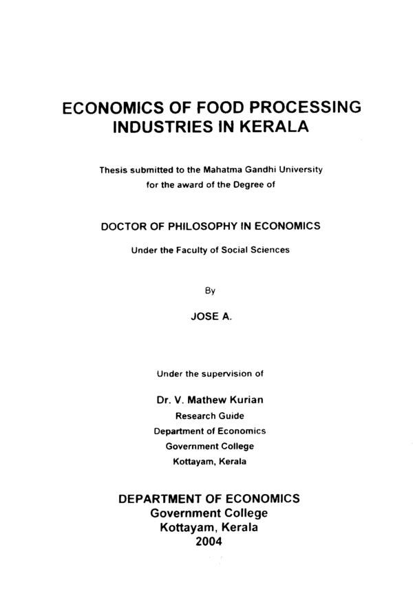 Phd Thesis Small Scale Industries