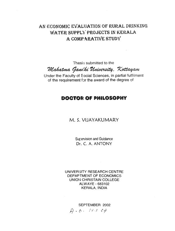 thesis on water supply and sanitation Lowest appropriate level for the organization and management of public water supply, sanitation services and irrigation systems,.