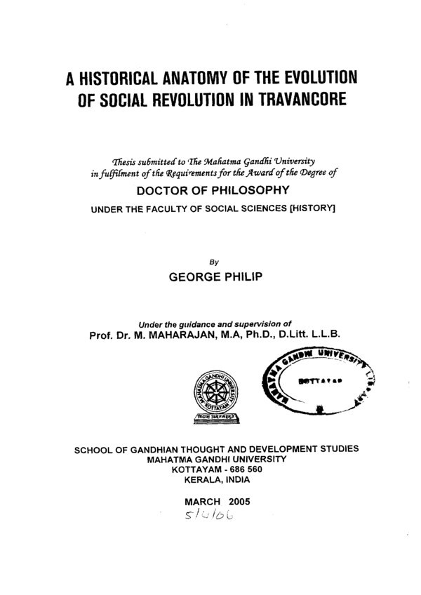 A historical anatomy of the evolution of social revolution in Travancore