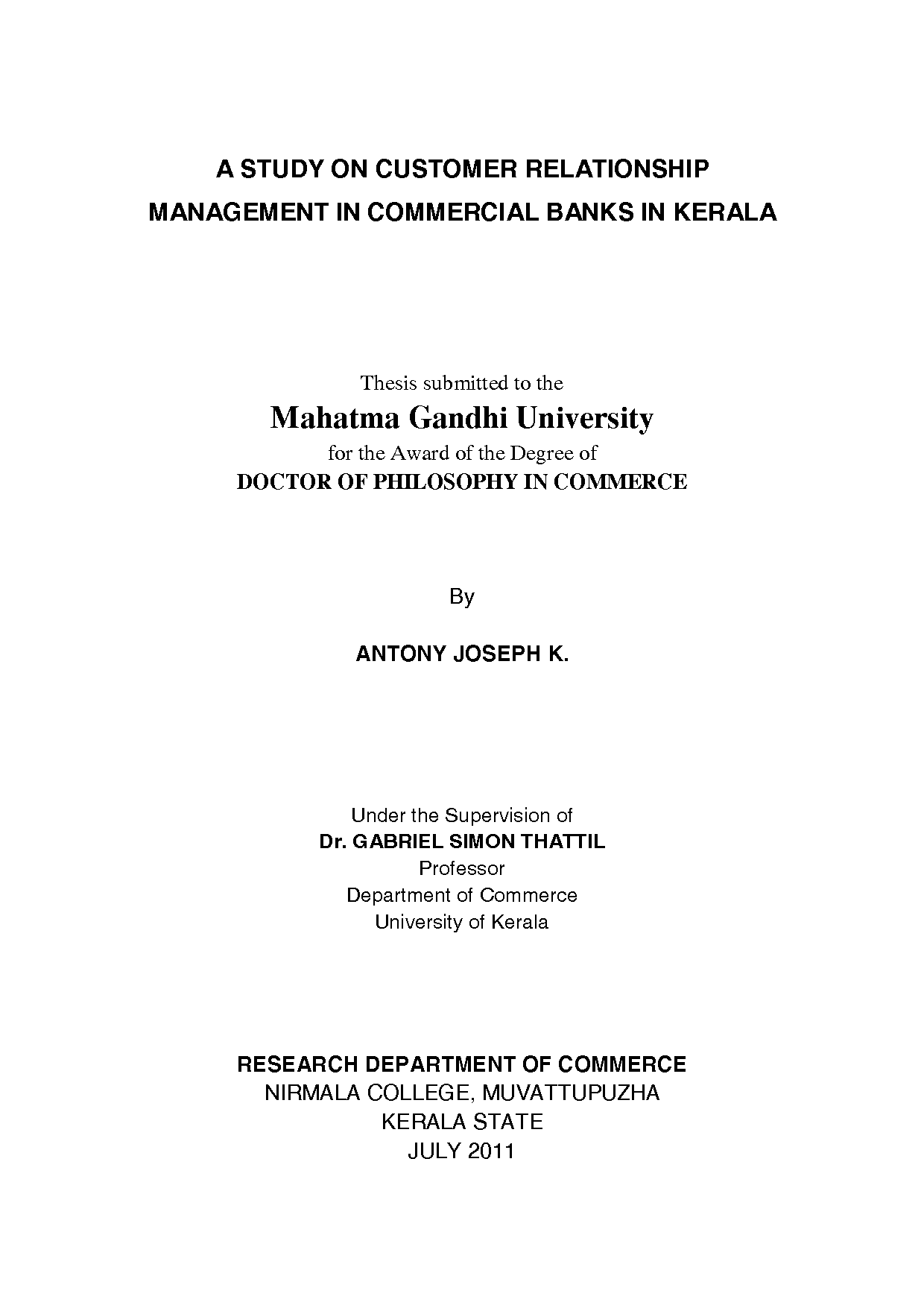 sample thesis on customer relationship management