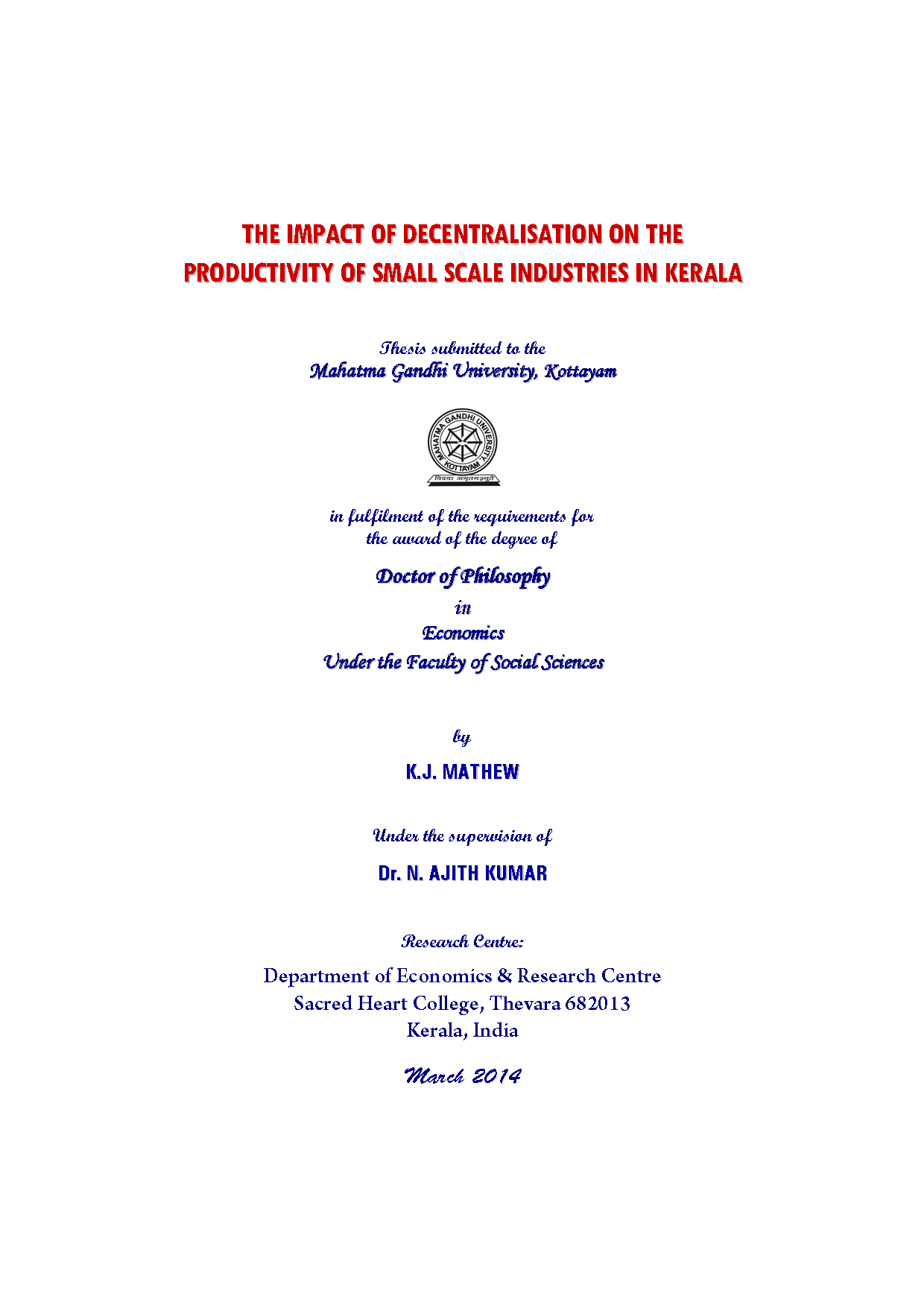 mgu thesis based on small scale industries in kerala